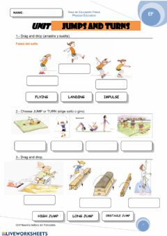 Interactive worksheet Jumps and turns