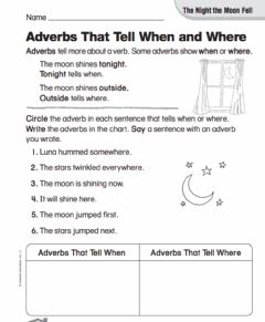 Ficha interactiva Adverbs That Tell When and Where