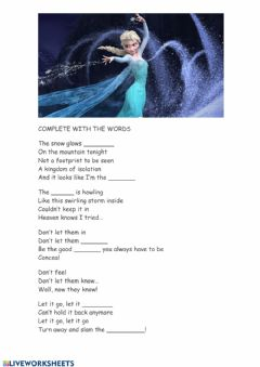 Interactive worksheet Frozen song