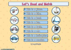 Interactive worksheet 3.8. Transportation - Let's Read and Match