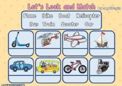 Interactive worksheet 3.8. Transportation - Let's Look and Match