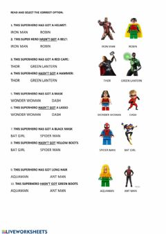 Interactive worksheet Superheroes-Has-Hasn't got