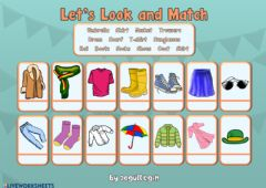 Interactive worksheet 4.8. My Clothes - Let's Look and Match