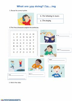 Interactive worksheet What is she-he doing?