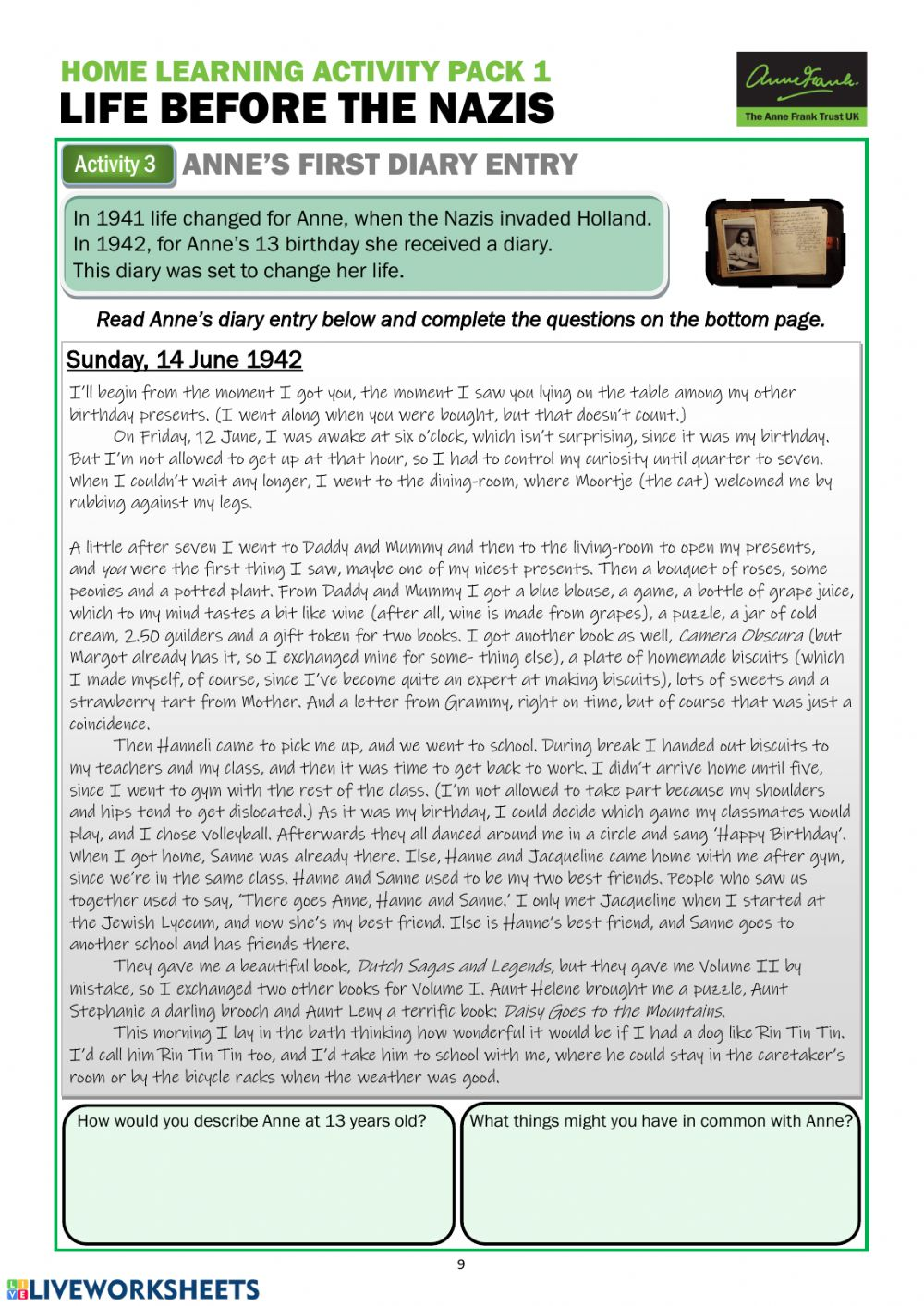 Home Learning Activity Pack 1 - LIFE BEFORE THE NAZIS ...
