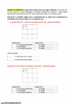 Interactive worksheet Quesiti di Genetica