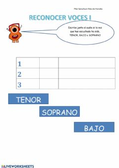 Interactive worksheet Reconocer voces