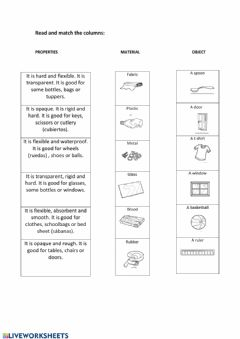 Interactive worksheet Which material I need?