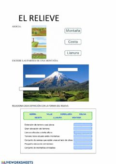 Interactive worksheet Relieve. Montaña