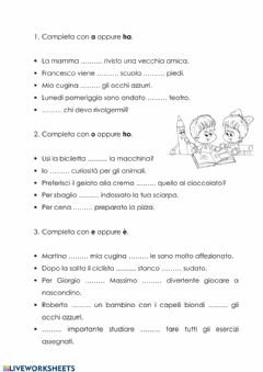 Interactive worksheet Esercizi per distinguere a-ha- o-ho- e-è.