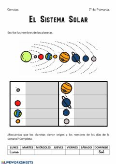 Interactive worksheet El Sistema Solar 3