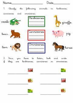 Interactive worksheet Let-s eat. Carnivores, omnivores and herbivores
