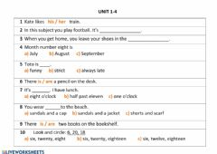Ficha interactiva Unit 1-4 revision: months, seasons, school subjects, rooms, numbers 1-20