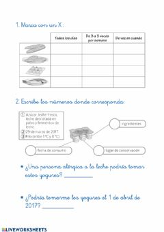 Interactive worksheet Los alimentos y los hábitos saludables