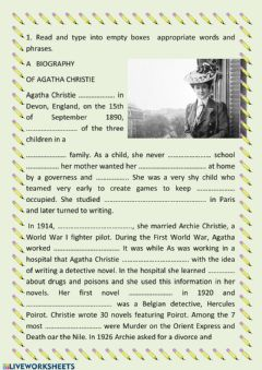 Interactive worksheet Agatha Christie