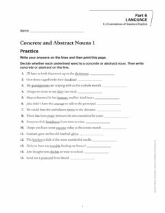 Interactive worksheet Concrete and Abstract Nouns