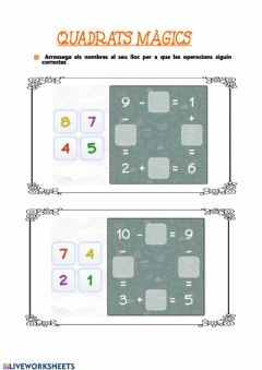 Interactive worksheet Quadrats màgics