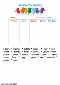 Interactive worksheet Review Vocabulary