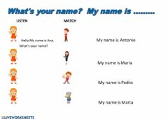 Ficha interactiva What's your name?