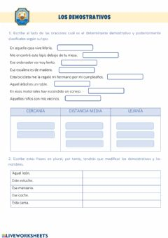 Interactive worksheet Los determinantes demostrativos