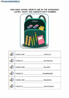 Interactive worksheet School supplies - How many