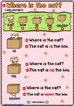 Interactive worksheet Where is the cat?(Listening)