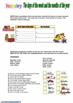 Interactive worksheet Months and days of the week