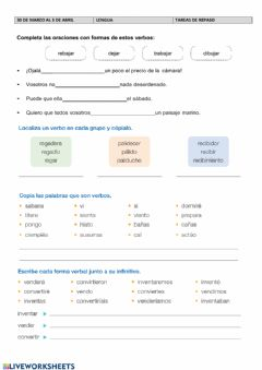 Interactive worksheet Repasolengua semana 30 marzo a 3 abril
