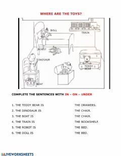Interactive worksheet In on under toys