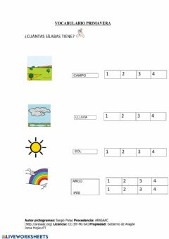 Interactive worksheet Primavera