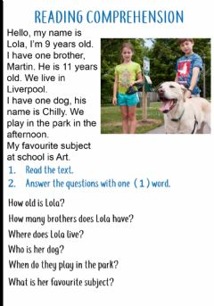Ficha interactiva Reading comprehension: wh questions