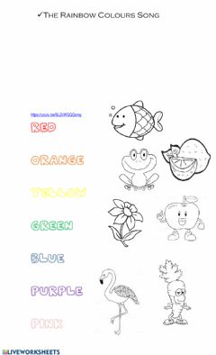 Interactive worksheet The Rainbow Colours Song and exercises