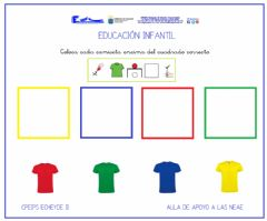 Ficha interactiva Asociar color-camiseta 3