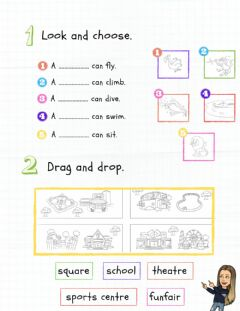 Interactive worksheet Places and animals