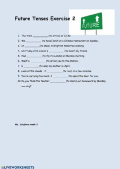 Interactive worksheet Future Tenses Exercise