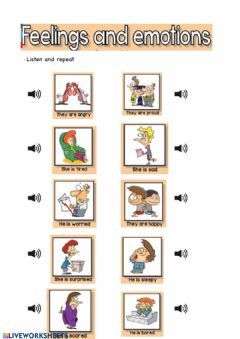 Ficha interactiva Feelings and emotions vocabulary