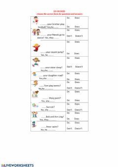 Interactive worksheet do or does