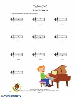 Interactive worksheet Treble Clef Lines and Spaces 2