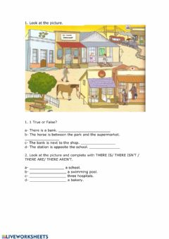 Ficha interactiva Places in town and prepositions of place