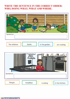 Interactive worksheet Who doing what what where