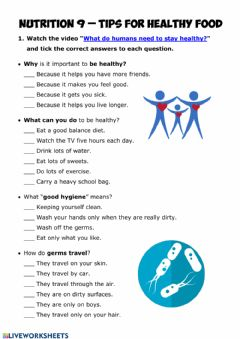 Interactive worksheet NUTRITION 9 - Tips for Healthy Food