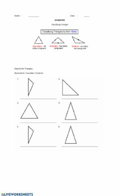 Interactive worksheet Classifying Triangles by Their Sides