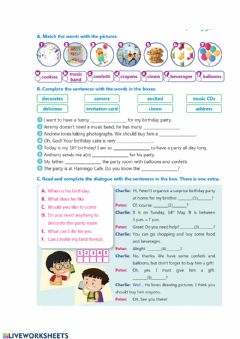 Interactive worksheet Party Time