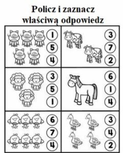 Interactive worksheet Policz zwierzęta do 6