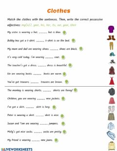 Interactive worksheet Possesive Adjectives and Clothes
