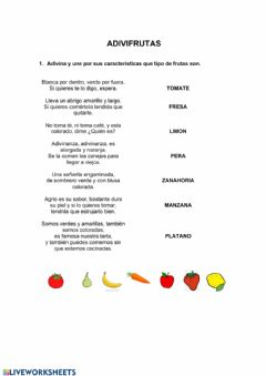 Interactive worksheet adivifrutas