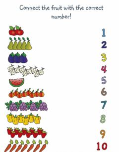 Ficha interactiva Veg-Fruit Number Match