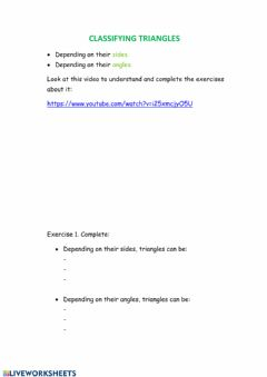 Interactive worksheet Classifying triangles