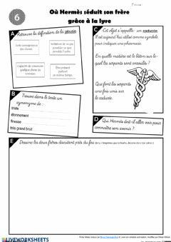 Interactive worksheet Le feuilleton d'Hermès - épisode 6