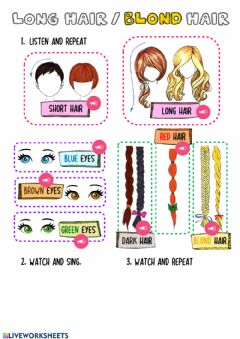 Interactive worksheet Long Hair-Blond Hair